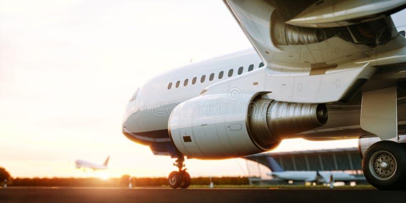 Aeroplano comercial blanco que se coloca en la pista del aeropuerto en la puesta del sol El aeroplano del pasajero est? sacando ilustración del vector