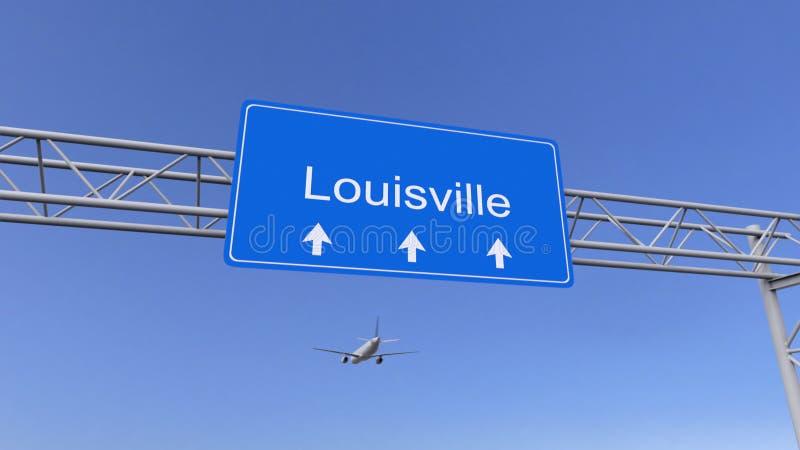 Aeroplano comercial que llega al aeropuerto de Louisville El viajar a la representación conceptual 3D de Estados Unidos foto de archivo libre de regalías
