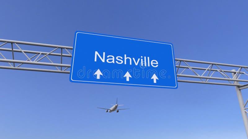Aeroplano comercial que llega al aeropuerto de Nashville El viajar a la representación conceptual 3D de Estados Unidos foto de archivo