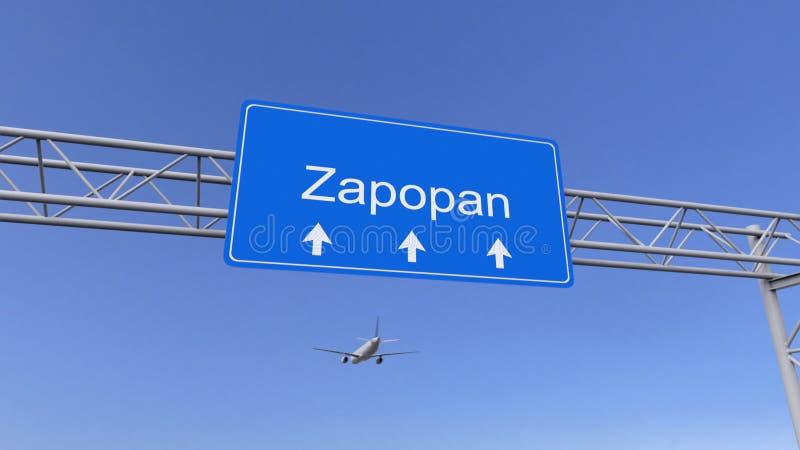 Aeroplano comercial que llega al aeropuerto de Zapopan El viajar a la representación conceptual 3D de México foto de archivo