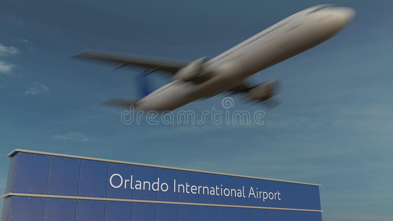 Aeroplano comercial que saca en la representación de Orlando International Airport Editorial 3D fotos de archivo