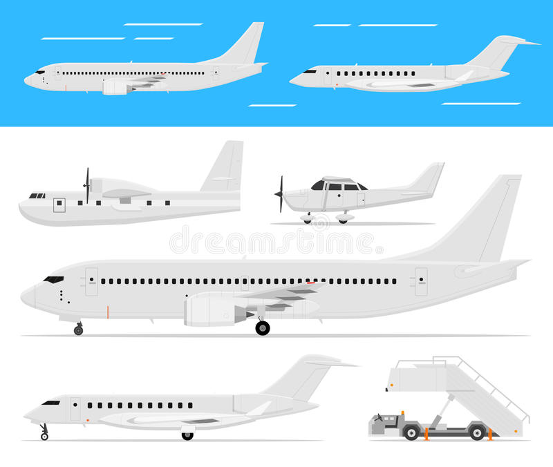 Aeroplano comercial y jets privados stock de ilustración