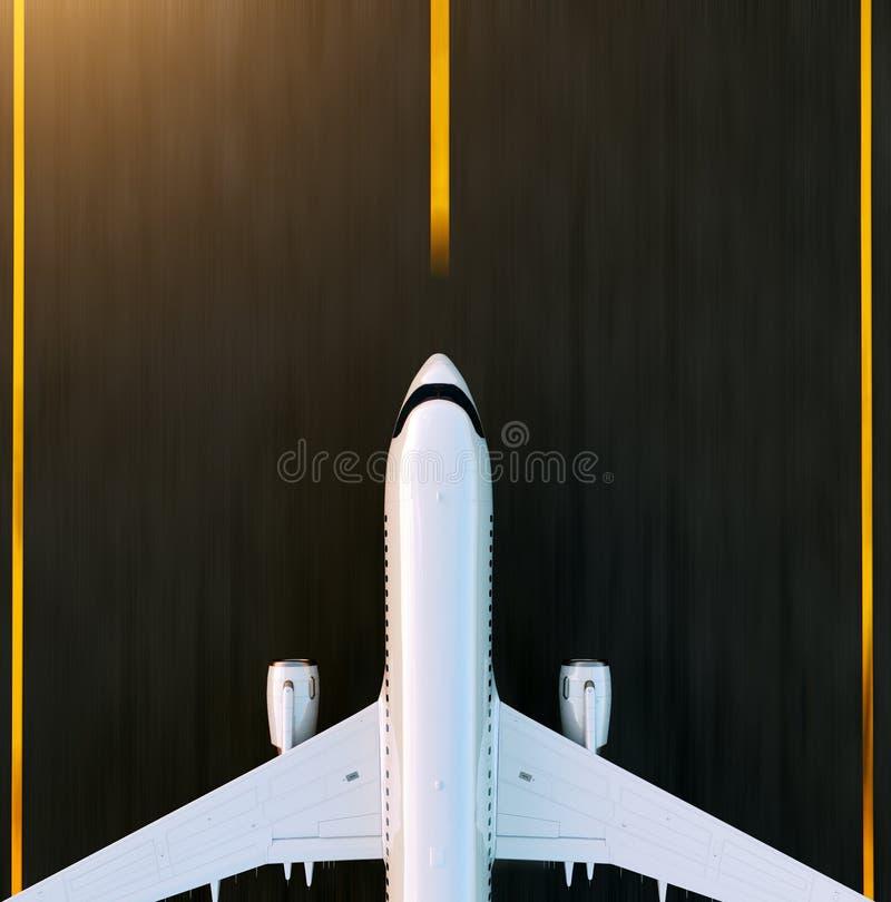 Aeroplano commerciale bianco che decolla sulla pista dell'aeroporto al tramonto L'aeroplano del passeggero sta decollando fotografia stock
