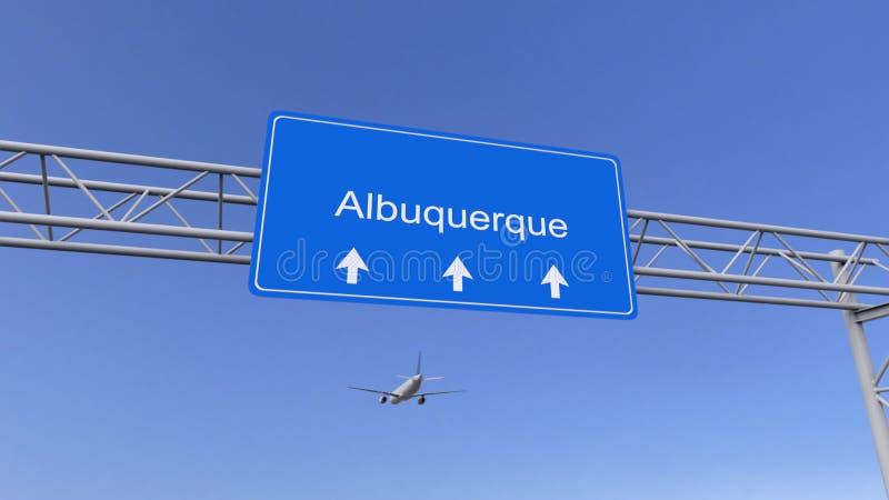 Aeroplano commerciale che arriva all'aeroporto di Albuquerque Viaggiando alla rappresentazione concettuale 3D degli Stati Uniti fotografia stock libera da diritti
