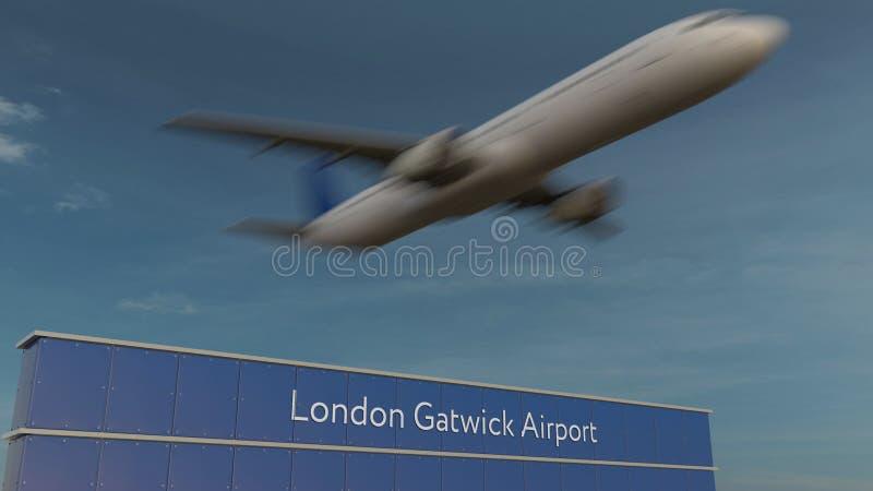 Aeroplano commerciale che decolla alla rappresentazione editoriale 3D dell'aeroporto di Londra Gatwick immagini stock libere da diritti
