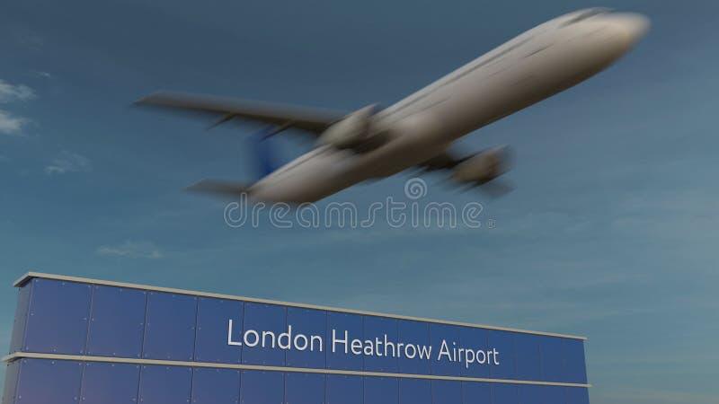 Aeroplano commerciale che decolla alla rappresentazione editoriale 3D dell'aeroporto di Londra Heathrow immagine stock libera da diritti