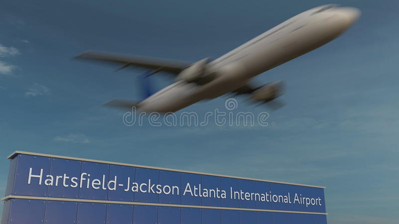 Aeroplano commerciale che decolla alla rappresentazione editoriale 3D dell'aeroporto internazionale diHartsfield-Jackson Atlanta immagini stock