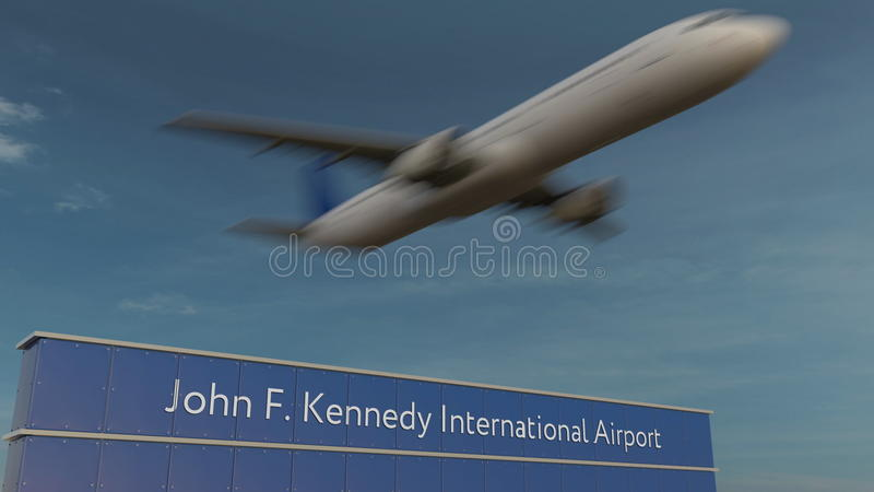 Aeroplano commerciale che decolla a John F Rappresentazione di Kennedy International Airport Editorial 3D immagine stock
