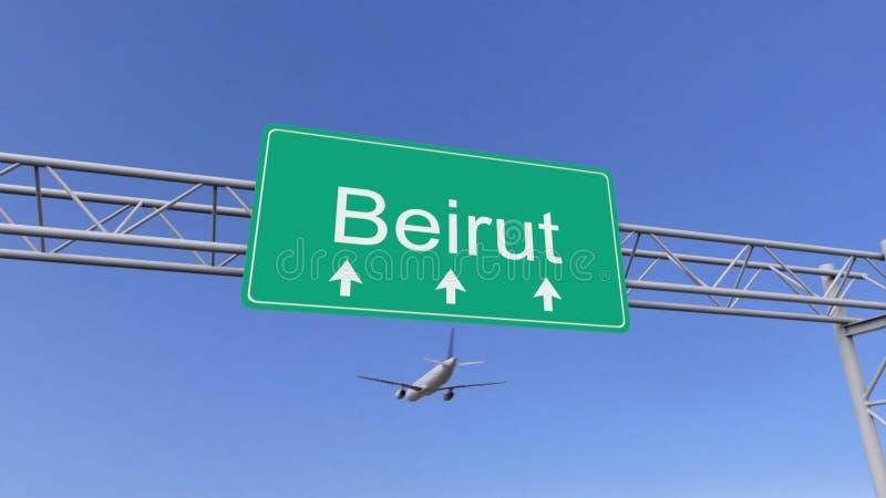 Aeroplano commerciale del motore gemellato che arriva all'aeroporto di Beirut Viaggiando alla rappresentazione concettuale 3D del illustrazione vettoriale