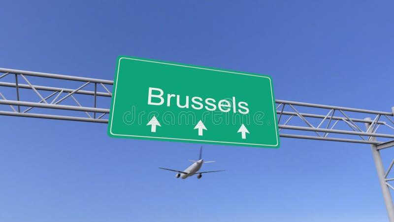 Aeroplano commerciale del motore gemellato che arriva all'aeroporto di Bruxelles Viaggiando alla rappresentazione concettuale 3D  illustrazione di stock