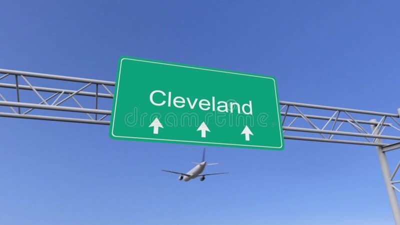 Aeroplano commerciale del motore gemellato che arriva all'aeroporto di Cleveland Viaggiando alla rappresentazione concettuale 3D  illustrazione vettoriale