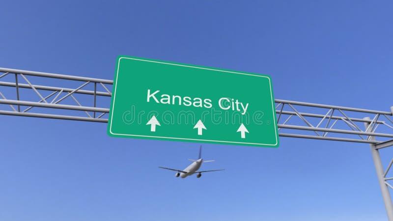 Aeroplano commerciale del motore gemellato che arriva all'aeroporto di Kansas City Viaggiando alla rappresentazione concettuale 3 royalty illustrazione gratis
