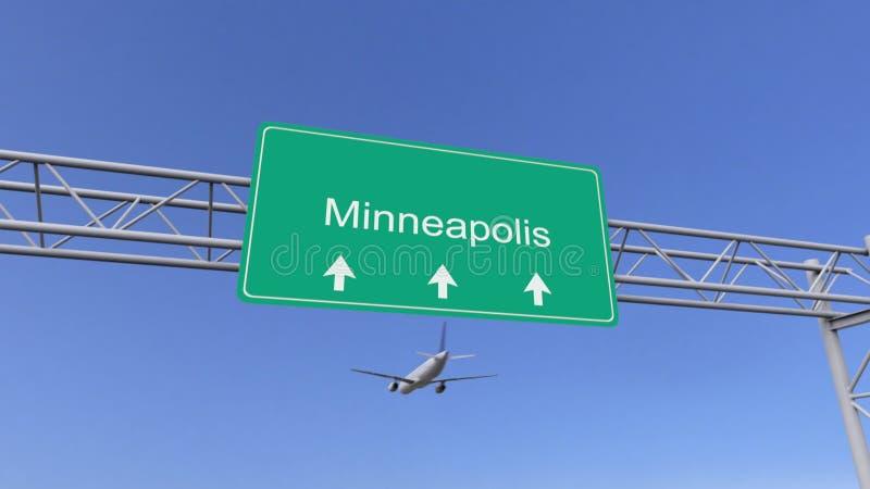 Aeroplano commerciale del motore gemellato che arriva all'aeroporto di Minneapolis Viaggiando alla rappresentazione concettuale 3 illustrazione vettoriale