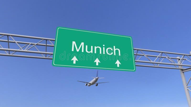 Aeroplano commerciale del motore gemellato che arriva all'aeroporto di Monaco di Baviera Viaggiando alla rappresentazione concett illustrazione di stock