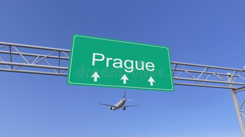 Aeroplano commerciale del motore gemellato che arriva all'aeroporto di Praga Viaggiando alla rappresentazione concettuale 3D dell royalty illustrazione gratis