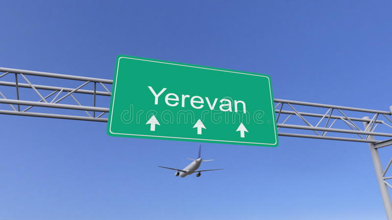 Aeroplano commerciale del motore gemellato che arriva all'aeroporto di Yerevan Viaggiando alla rappresentazione concettuale 3D de illustrazione vettoriale