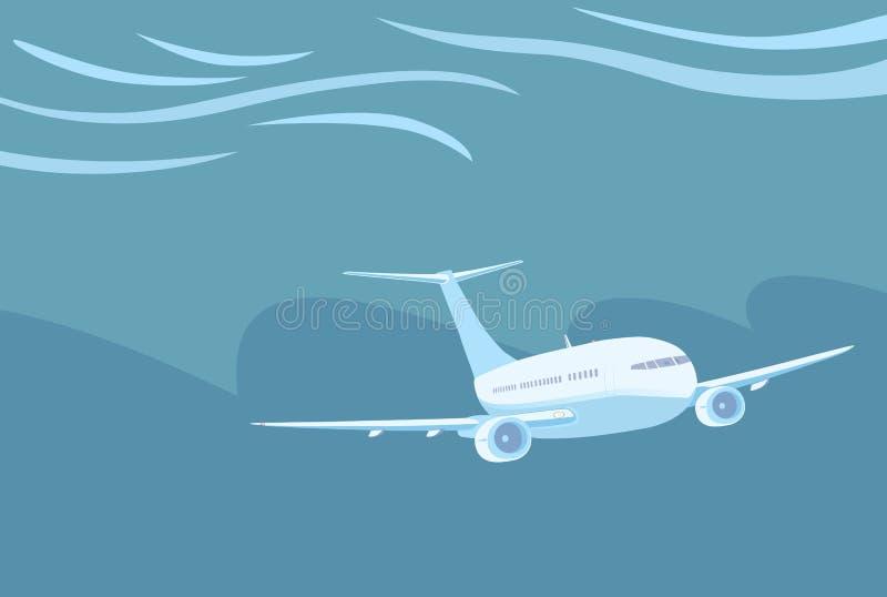 Aeroplano con dos motores que vuelan en condiciones meteorológicas severas libre illustration