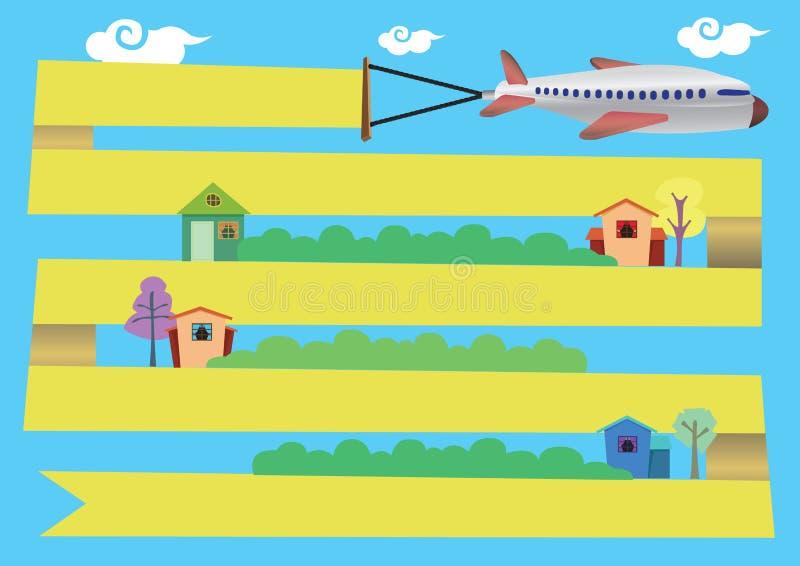 Aeroplano con el vuelo de la bandera alrededor de la historieta Illustrat del vector de la ciudad ilustración del vector