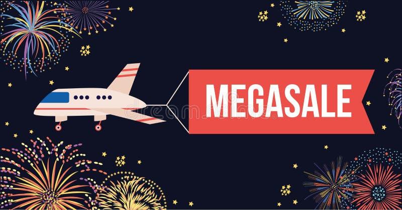 Aeroplano con il volo rosso dell'insegna in cielo notturno con i fuochi d'artificio royalty illustrazione gratis