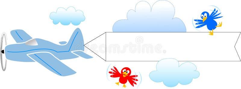 Aeroplano con la bandera en blanco/EPS libre illustration