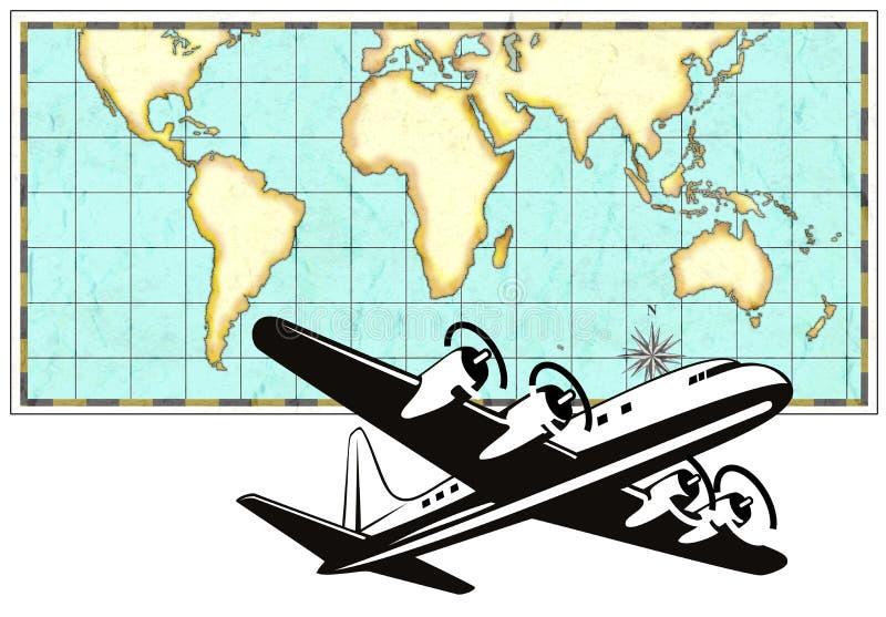 Aeroplano con la correspondencia de mundo stock de ilustración
