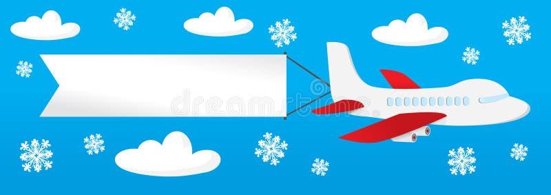 Aeroplano con las banderas en el cielo stock de ilustración