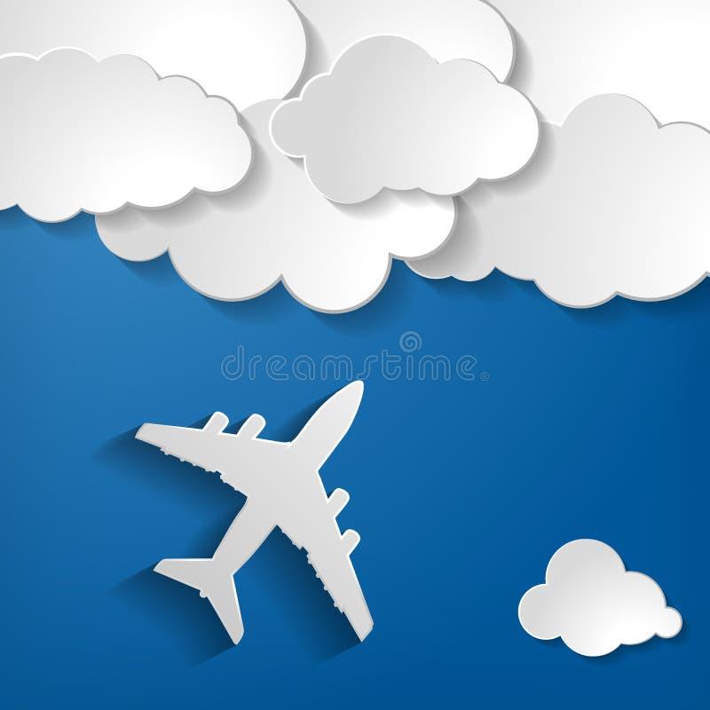 Aeroplano con le nuvole di carta su un fondo dell'aria blu royalty illustrazione gratis