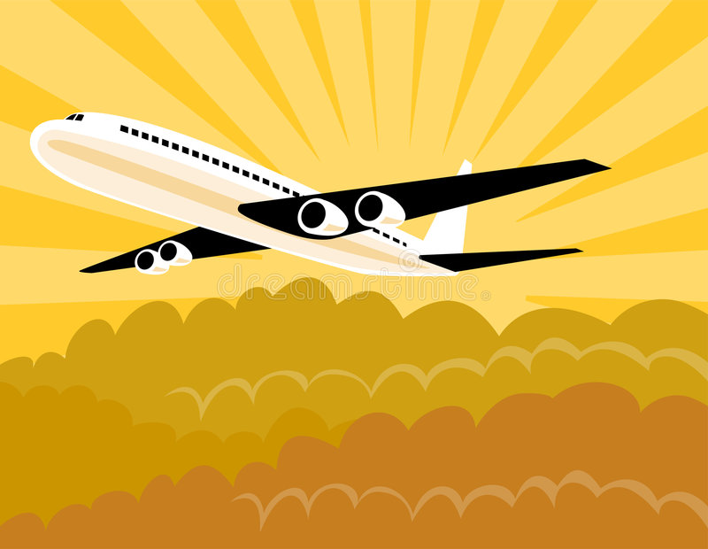 Aeroplano con resplandor solar libre illustration