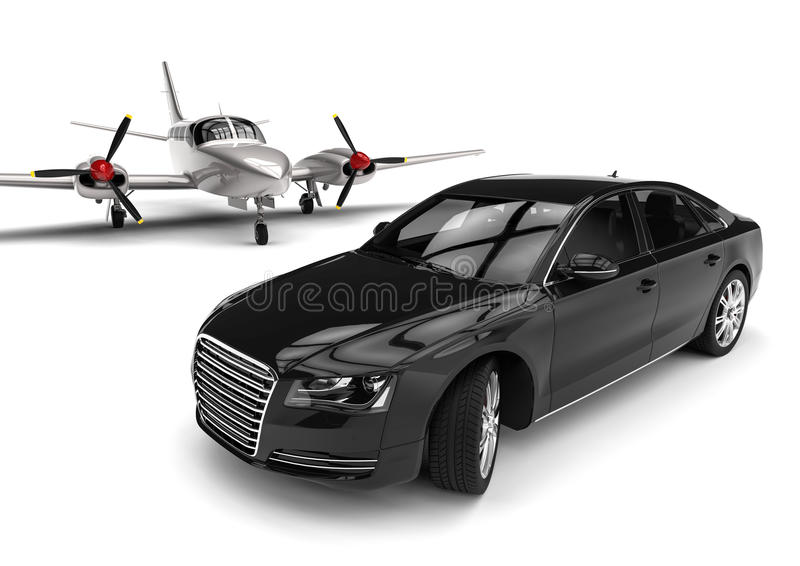 Aeroplano con un coche de lujo ilustración del vector