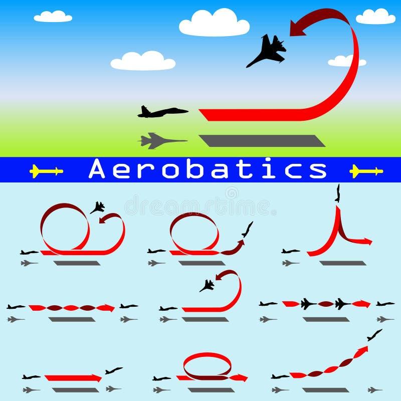 Aeroplano de las acrobacias aéreas en fondo del cielo azul ilustración del vector