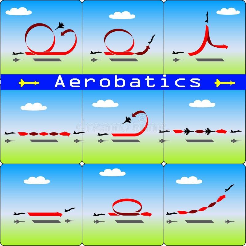 Aeroplano de las acrobacias aéreas en fondo del cielo azul stock de ilustración