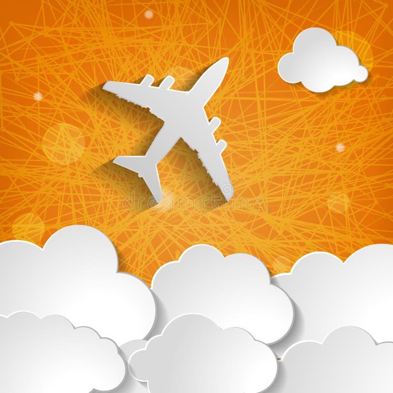 Aeroplano de papel con las nubes en un fondo anaranjado ilustración del vector