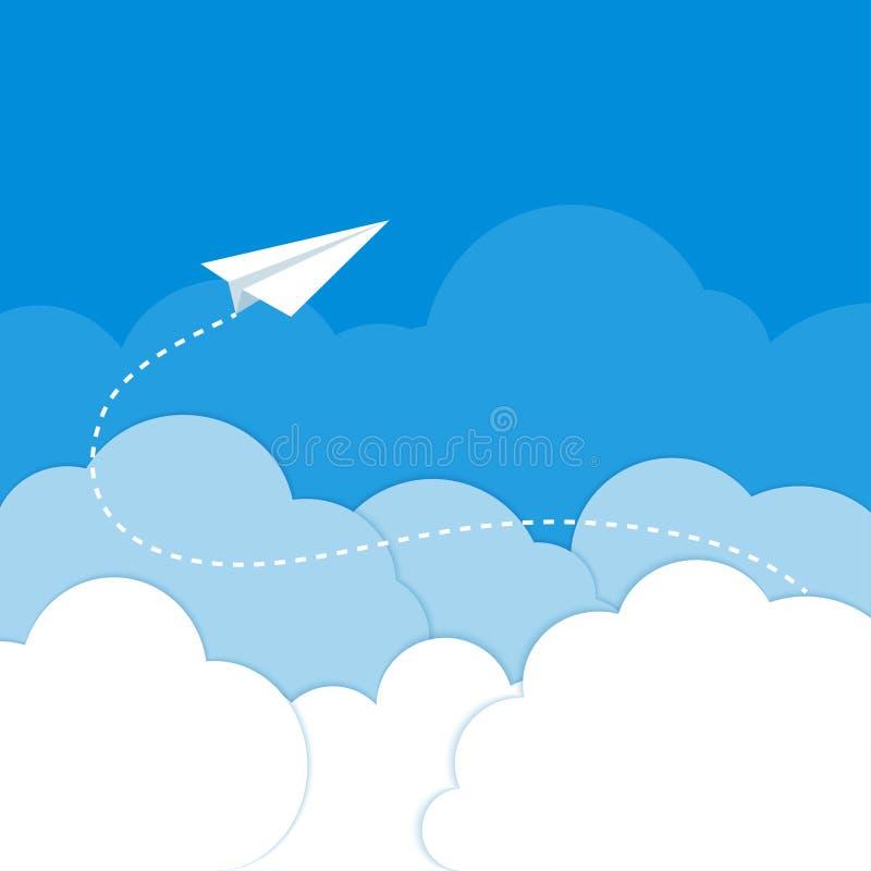 Aeroplano de papel en las nubes en un fondo azul ilustración del vector