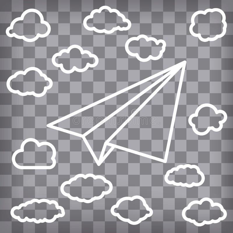 Aeroplano de papel linear blanco con las nubes en el backgro a cuadros stock de ilustración