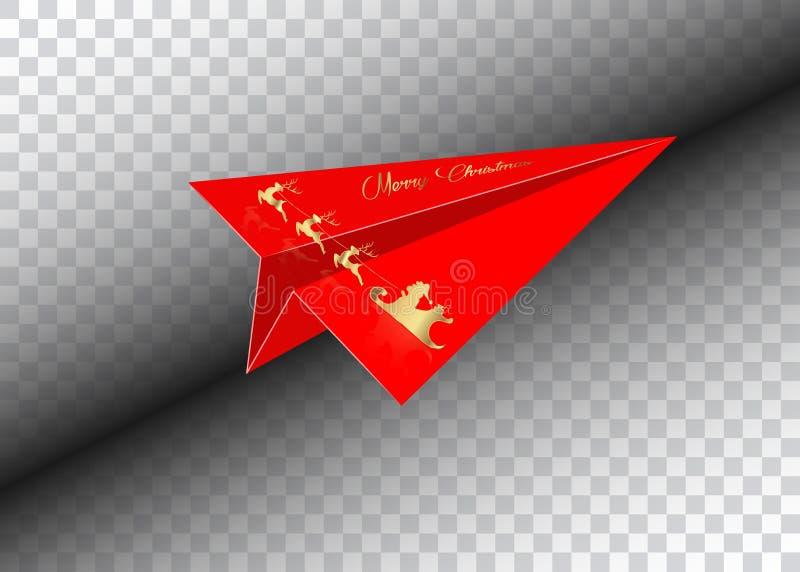Aeroplano de papel rojo, Feliz Navidad, Santa Claus de oro con un vuelo del reno, aislado ilustración del vector