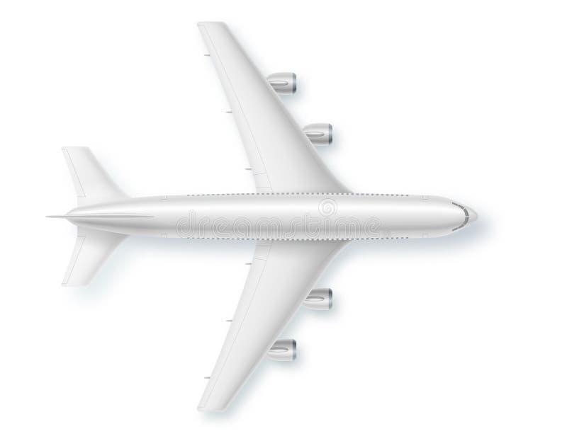 Aeroplano de plata, visi?n superior Ilustraci?n del vector Concepto detallado de aviones Avi?n para el viaje Aeroplano del anunci ilustración del vector
