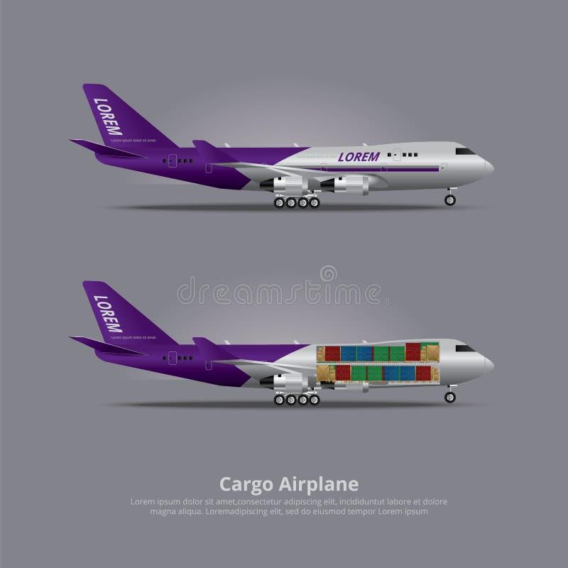 Aeroplano del buque de carga aislado ilustración del vector