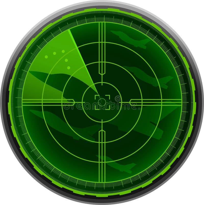 Aeroplano del combate de la pantalla de radar libre illustration