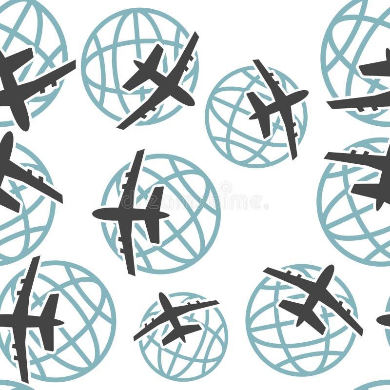 Aeroplano del icono del vector que vuela en el mundo entero el modelo inconsútil en un fondo blanco stock de ilustración