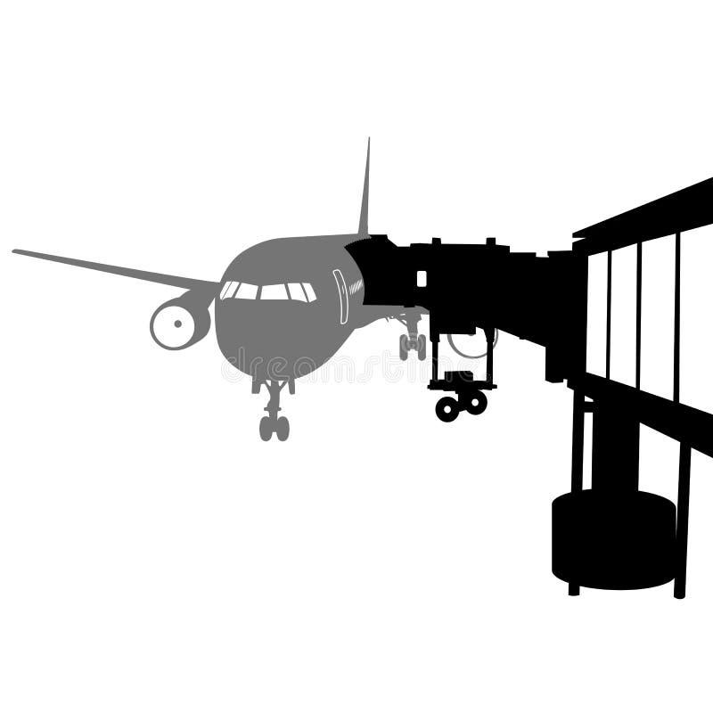 Aeroplano del jet atracado en aeropuerto Ilustración del vector libre illustration