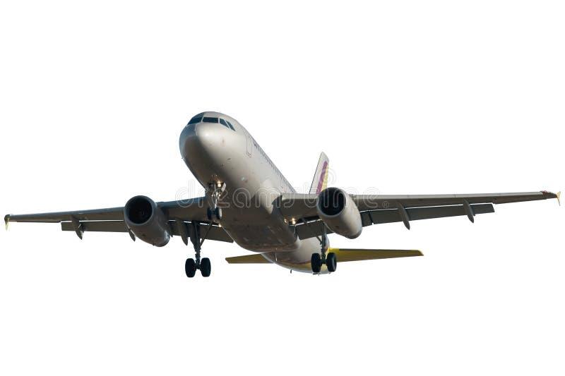 Aeroplano del jet que se acerca a Rwy foto de archivo