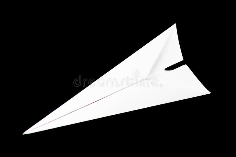 Aeroplano del Libro Bianco Vista superiore Fine in su Isolato su priorità bassa nera fotografie stock
