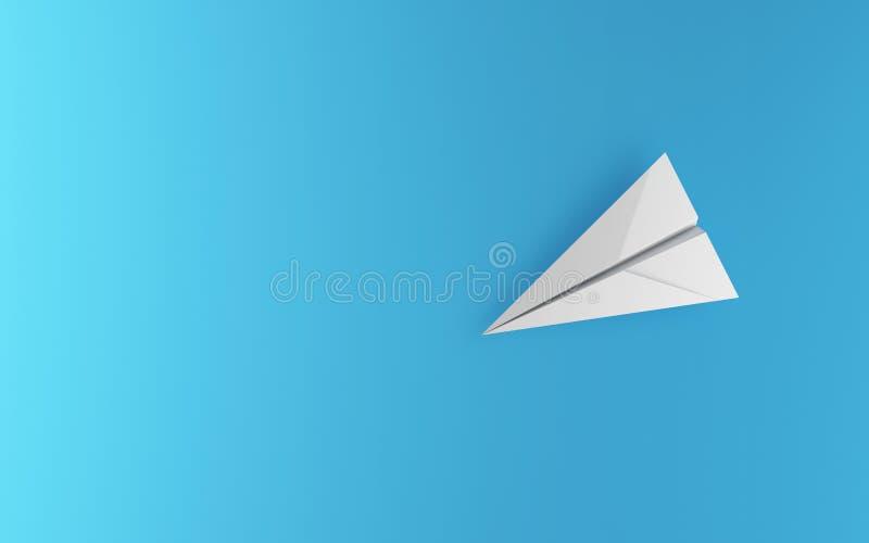 Aeroplano del Libro Blanco aislado en fondo azul en concepto de la educación o del viaje Diseño ascendente de la mofa ilustración stock de ilustración
