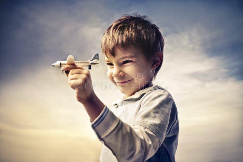 Aeroplano del niño imágenes de archivo libres de regalías