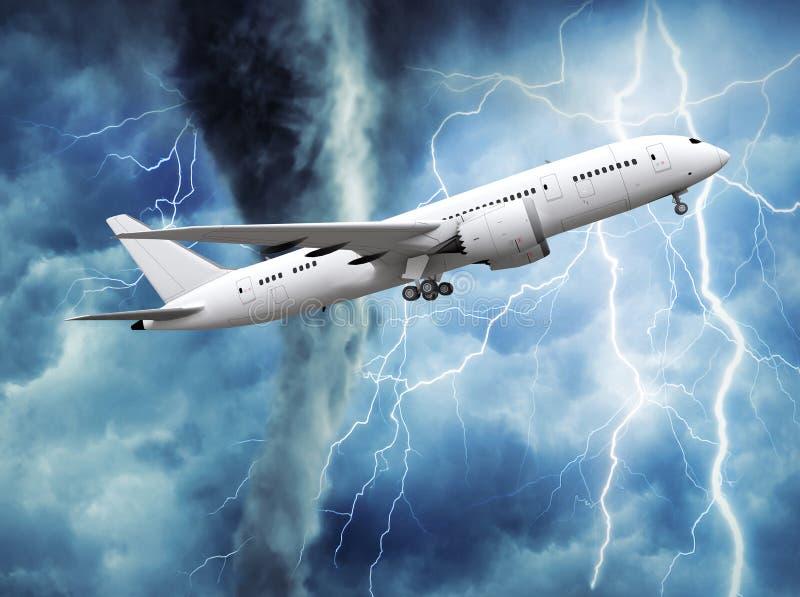 aeroplano del passeggero che aumenta nel cielo illustrazione di stock