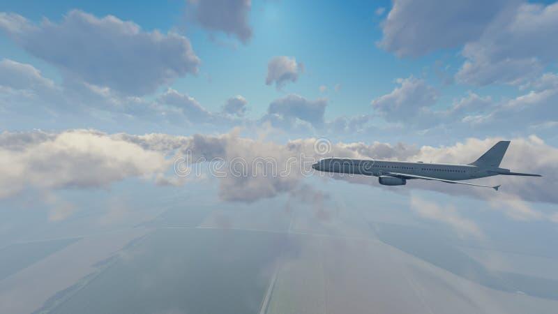 Aeroplano del passeggero che vola su nel cielo royalty illustrazione gratis