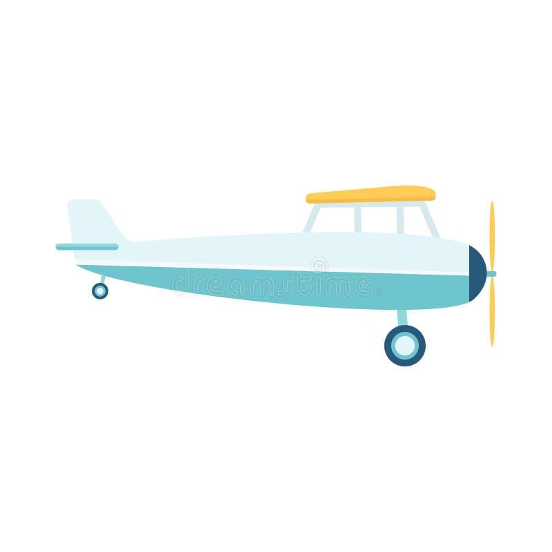 Aeroplano del propulsor de Lghtweight o vector plano retro aislado en el fondo blanco ilustración del vector
