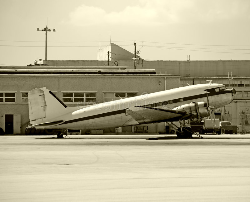 Aeroplano del turbopropulsor de la vendimia foto de archivo