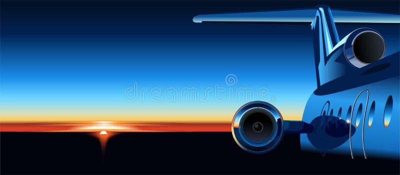 Aeroplano del vector en la salida del sol ilustración del vector