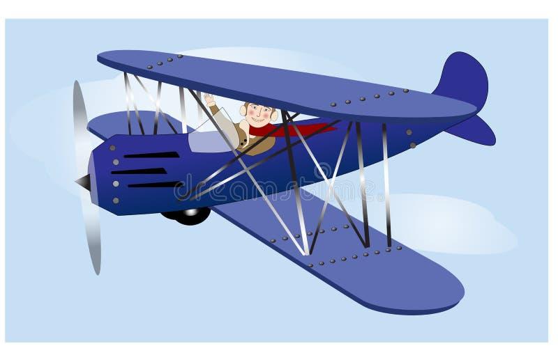 Aeroplano del vintage del vuelo ilustración del vector